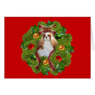 Cavalier King Charles Spaniel Christmas CardWreath Card