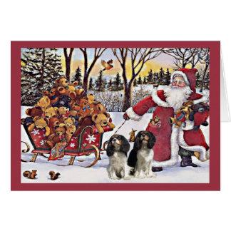 Cavalier King Charles Spaniel Christmas Santa and  Card