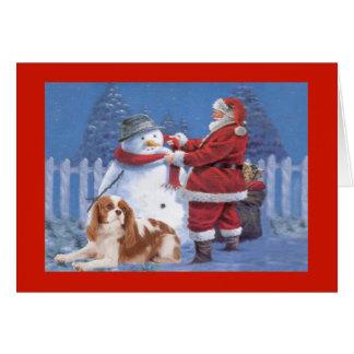 Cavalier King Charles Spaniel Christmas Snowman Card