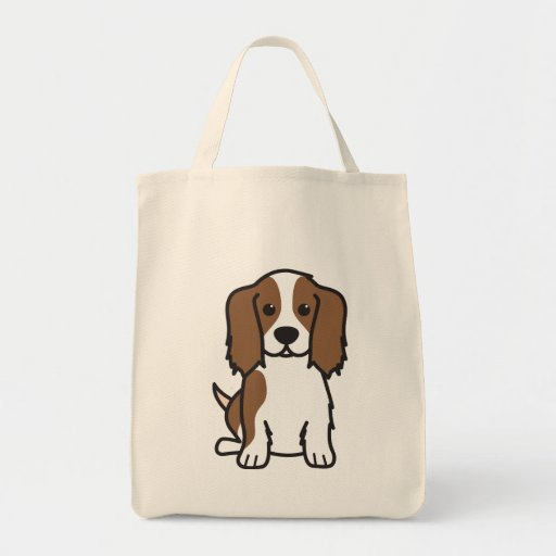 Cavalier King Charles Spaniel Dog Cartoon Grocery Tote Bag