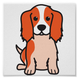 Cavalier King Charles Spaniel Dog Cartoon Poster