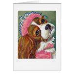 Cavalier King Charles Spaniel Dog Princess ART Greeting Card