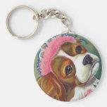 Cavalier King Charles Spaniel Dog Princess ART Key Chain