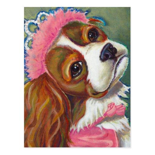 Cavalier King Charles Spaniel Dog Princess ART Postcard