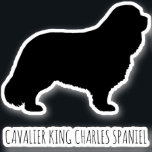 """Cavalier King Charles Spaniel Dog Silhouette Vinyl Sticker<br><div class=""""desc"""">This Cavalier King Charles Spaniel sticker is waterproof and scratch resistant. A cool decal to stick to your laptop computer,  phone,  luggage,  water bottle,  notebook,  or your car window. Visit Jenn's Doodle World for even more dog breed silhouette stickers and Cavalier lover"""