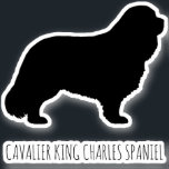 "Cavalier King Charles Spaniel Dog Silhouette Vinyl Sticker<br><div class=""desc"">This Cavalier King Charles Spaniel sticker is waterproof and scratch resistant. A cool decal to stick to your laptop computer,  phone,  luggage,  water bottle,  notebook,  or your car window. Visit Jenn's Doodle World for even more dog breed silhouette stickers and Cavalier lover"