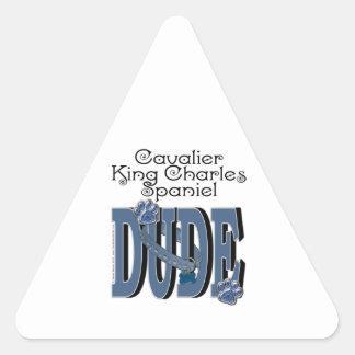 Cavalier King Charles Spaniel DUDE Triangle Sticker