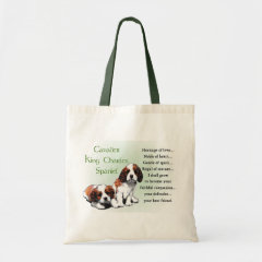 Cavalier King Charles Spaniel Heritage of Love Puppies Gifts tote