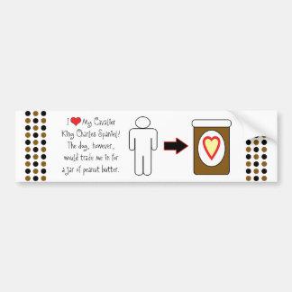 Cavalier King Charles Spaniel Loves Peanut Butter Car Bumper Sticker