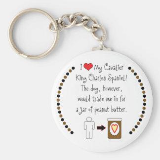 Cavalier King Charles Spaniel Loves Peanut Butter Keychain