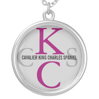 Cavalier King Charles Spaniel Monogram Silver Plated Necklace