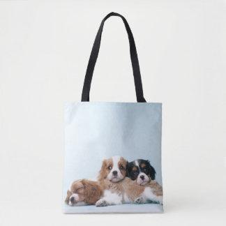 Cavalier King Charles Spaniel Puppies Sleeping Tote Bag