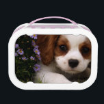 """Cavalier King Charles Spaniel Puppy behind flowers Lunch Box<br><div class=""""desc"""">A cute Cavalier King Charles Spaniel Puppy peaks out of his hiding space behind purple mums. He looks all adorable and ready to play.</div>"""