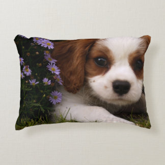 Cavalier King Charles Spaniel Puppy behind flowers Accent Pillow