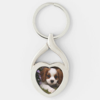 Cavalier King Charles Spaniel Puppy behind flowers Silver-Colored Heart-Shaped Metal Keychain