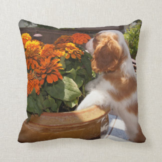 Cavalier King Charles Spaniel Puppy Smells Flowers Throw Pillow