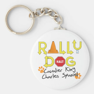 Cavalier King Charles Spaniel Rally Dog Basic Round Button Keychain