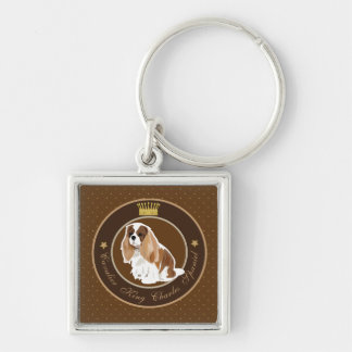 Cavalier King Charles Spaniel Silver-Colored Square Keychain