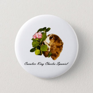 Cavalier King Charles Spaniel With Flower Button