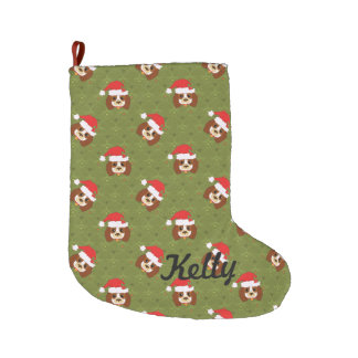 Cavalier King Charles Spaniel with Santa hat Large Christmas Stocking