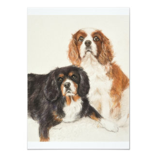 Cavalier King Charles Spaniels painting Card