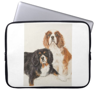 Cavalier King Charles Spaniels painting Computer Sleeve