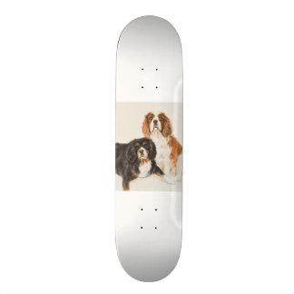 Cavalier King Charles Spaniels painting two Skateboard