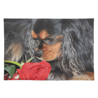 Cavalier King Charles Spaniels With Red Rose Place Mat