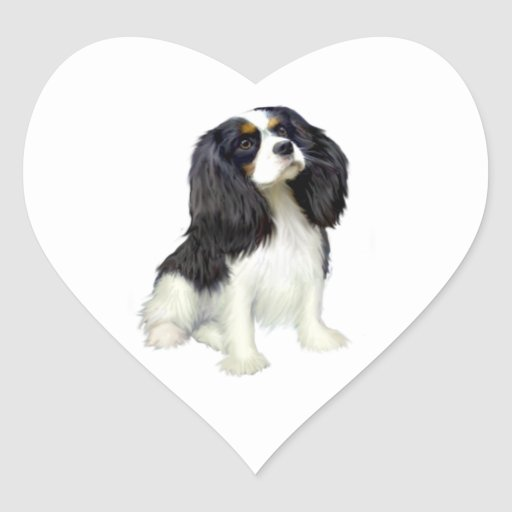 Cavalier King Charles - Tri Colored Heart Sticker