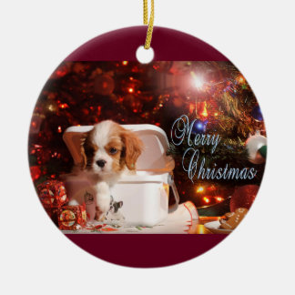 Cavalier puppy Christmas Card Ceramic Ornament