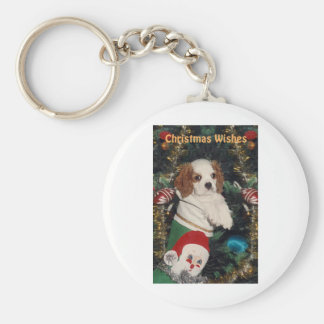 Cavalier Puppy In Christmas Stocking Key Chains