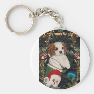 Cavalier Puppy In Christmas Stocking Key Chain