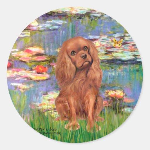 Cavalier (Ruby7) - Lilies 2 Round Sticker