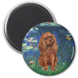 Cavalier (Ruby7) - Lilies 5 2 Inch Round Magnet