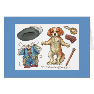 Cavalier spaniel paper doll note card