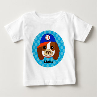 Cavalier spaniel with baseball cap baby T-Shirt