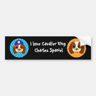 Cavalier spaniel with baseball cap car bumper sticker