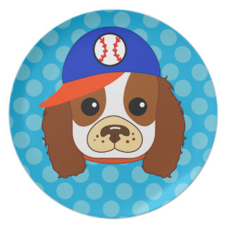 Cavalier spaniel with baseball cap dinner plate