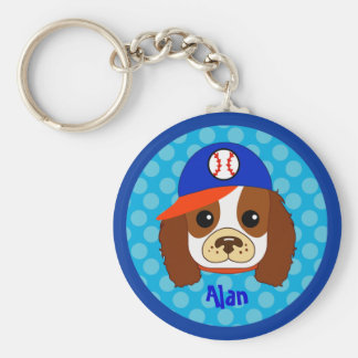 Cavalier spaniel with baseball cap keychains