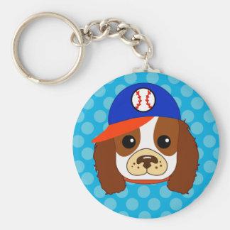 Cavalier spaniel with baseball cap key chains