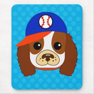 Cavalier spaniel with baseball cap mouse pad