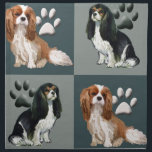 "Cavalier spaniels cloth napkins<br><div class=""desc"">features a beautiful set of four cavalier spaniels on a slate blu background... a lovely gift for a &quot;mom&quot; who lovers her cavaliers.</div>"