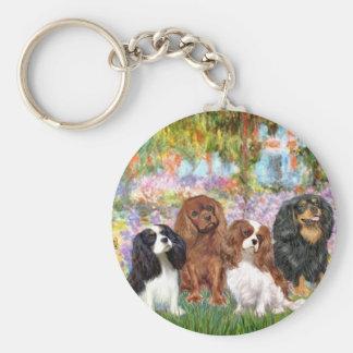 Cavaliers (4) - in Monet's Garden Basic Round Button Keychain