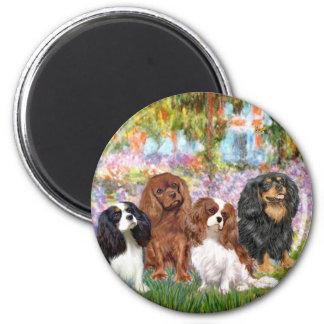 Cavaliers (4) - in Monet's Garden 2 Inch Round Magnet