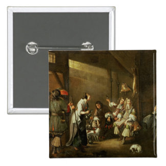 Cavaliers and Companions Carousing in a Barn 2 Inch Square Button