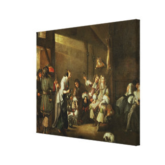 Cavaliers and Companions Carousing in a Barn Canvas Print