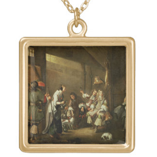 Cavaliers and Companions Carousing in a Barn Custom Necklace