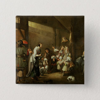 Cavaliers and Companions Carousing in a Barn Pinback Button