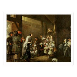 Cavaliers and Companions Carousing in a Barn Post Card
