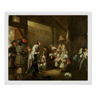 Cavaliers and Companions Carousing in a Barn Poster
